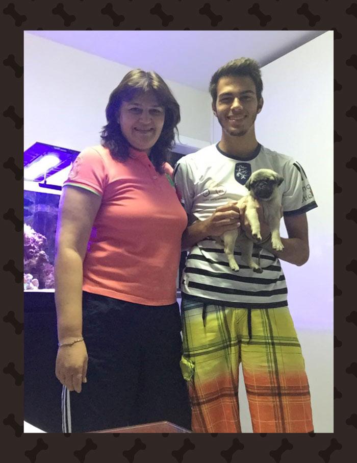 Andréia e o filho Eduardo com o filhote Bugô - Belo Horizonte/MG